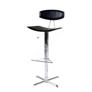 Bar stool BLAISE 43x42xH103cm, seat and back: imitation leather, color: black, leg: chrome