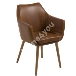 Chair / armchair NORA 58x58x84cm, seat and backrest: imitation leather, color: brandy, legs: oak, finishing: oiled