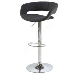Bar stool GRACE 54,5x48,5xH104cm, seat and back: fabric / imitation leather, color: anthracite / black, leg: chrome