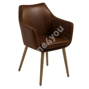 Chair / armchair NORA 58x58xH84cm, seat and back: imitation leather, color: brown, legs: oak, finish: oiled