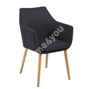 Chair/ armchair NORA 58x58x84cm, seat and backrest: fabric Corsica, color: anthracite, legs: oak, finishing: oiled