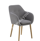Стул / кресло EMILIA 57x59xH83см, сиденье и спинка: ткань Darin, цвет: светло-серый, ножки: дуб, обработка: промасленный