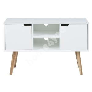 TV-table MITRA 96x38xH61,5cm, shelve and 2-doors, material: wood, color: white, legs: oak
