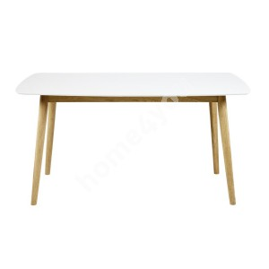 Dining table NAGANO 150x80xH75cm, tabletop: wood, color: white, finishing: lacquered, legs: wood