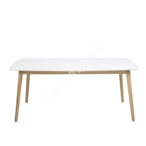Dining table NAGANO 180x90xH75,5cm, table top: wood, color: white, finish: lacquered, legs: oak