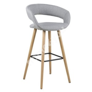 Bar stool GRACE 55x46,5xH98cm, seat and back: fabric, color: light grey, legs: oak, finish: oiled