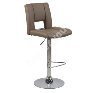 Bar stool SYLVIA 41,5x52xH115cm, seat and back: imitation leather, color: cappuccino, leg: chrome