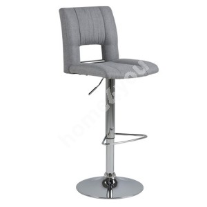 Bar stool SYLVIA 41,5x52xH115cm, seat and back: imitation leather, color: light grey, leg: chrome