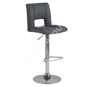 Bar stool SYLVIA 41,5x52xH115cm, seat and back: imitation leather, color: dark grey, leg: chrome