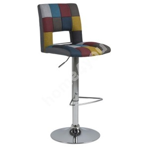 Bar stool SYLVIA 41,5x52xH115cm, seat and back: fabric, patchwork, color: multicolored, leg: chrome