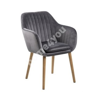 Armchair EMILIA 57x59xH83cm, seat and backrest: fabric,  color: dark grey, legs: oak, finishing: oiled