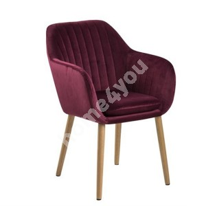 Armchair EMILIA 57x59xH83cm, seat and backrest: fabric,  color: bordeaux, legs: oak, finishing: oiled