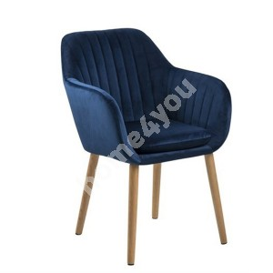 Armchair EMILIA 57x59xH83cm, seat and backrest: fabric,  color: dark blue, legs: oak, finishing: oiled