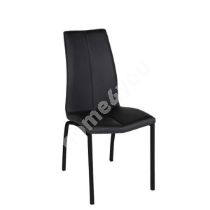 Dining chair ASAMA 43,5x57xH95cm, seat/backrest: imitation leather, color: black, legs: metal, color: black
