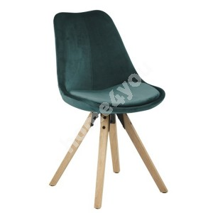 Chair DIMA 48x55xH85cm, seat and back: fabric, color: bottle green, legs: rubber wood, finish: oak stained, oiled