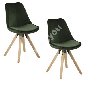 Dining chairs 2pcs DIMA 48,5x55xH85cm, seat/backrest: fabric, color: green, legs: rubber wood, finish: oak stained