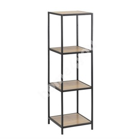 Riiul SEAFORD 35x37xH119,5cm, 3-ne, riiulid: lamineeritud kattega mööbliplaat, värvus: tamm, raam: must metall
