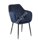 Стул / кресло EMILIA 57x59xH83см, сиденье и спинка: ткань, цвет: тёмно-синий, ножки: чёрный металл