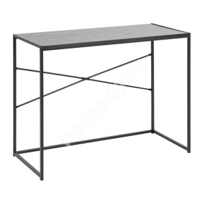Desk SEAFORD 100x45xH75cm, table top: melamine, color: ash black, legs: black metal