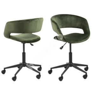 Desk chair GRACE 65x64xH87cm, seat and back: velvet, color: forest green, leg: black, castors: soft