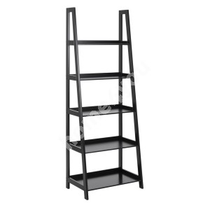 Shelf WALLY 63x40xH180cm, 5-shelves, shelf panel and frame: color: black, finish: lacquered