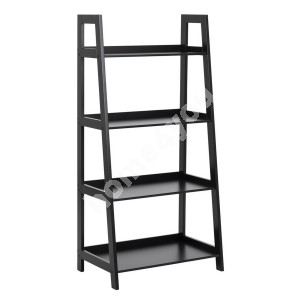 Shelf WALLY 63x40xH130cm, 4-shelves, shelf panel and frame: color: black, finish: lacquered