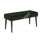 Bench GLORY 38x95xH45cm, fabric: forest green, tuftings, metal legs powder coated, rough matt black