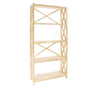 Shelf ALEX 5-tier 80x31xH161cm, natural