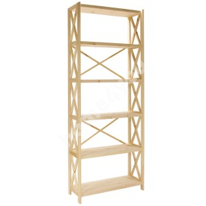 Shelf ALEX 6-tier 80x31xH198cm, natural