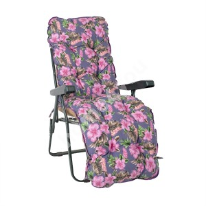 Deck chair BADEN-BADEN with cushion T0590254, 59x52xH100cm, foldable green metal frame