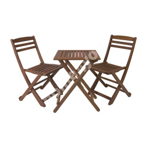 Balcony set ROUEN table and 2 chairs (06238), 50x50xH68cm, foldable, wood: meranti, finishing: oiled