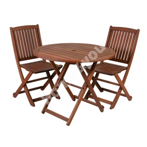 Balcony set NANTES table and 2 chairs (07098), D70xH74cm, foldable, wood: meranti, finishing: oiled