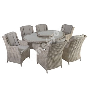 Garden furniture set PACIFIC with 6-chairs (10494) 180x120xH74cm, aluminum frame with plastic wicker, color: greyish bei