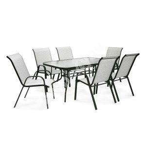Garden furniture set DUBLIN table and 6 chairs (11873) silver grey