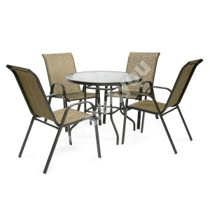 Garden furniture set DUBLIN table and 4 chairs, steel frame, color: dark brown