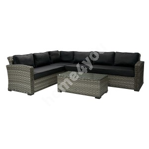 Garden furniture set GENEVA with cushions, corner sofa and table, aluminum frame with plastic wicker, color: dark grey