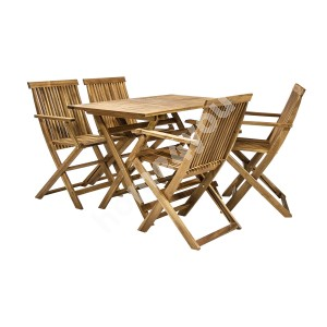 Garden furniture set FINLAY table and 4 chairs (13182), 110x75xH72cm, foldable, wood: acacia, finish: oiled