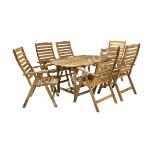 Garden furniture set FINLAY table and 6 chairs (13184), 153/195x90xH72cm, extendable, wood: acacia, finish: oiled