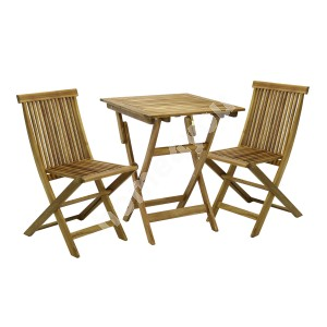 Balcony set FINLAY table and 2 chairs (13181), 60x60xH72cm, foldable, wood: acacia, finish: oiled