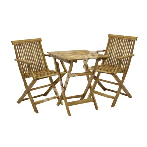 Balcony set FINLAY table and 2 chairs (13182), 60x60xH72cm, foldable, wood: acacia, finish: oiled