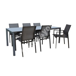 Garden furniture set AMALFI table and 6 chairs (14533), grey