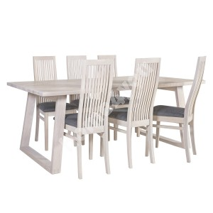 Dining set OXFORD with 6-chairs (18134) 200x100xH75cm, particle board with natural oak veneer, finishing: white oiled