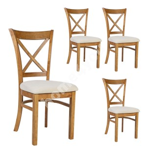 Chairs 4pcs MIX & MATCH 43x43xH90,5cm, natural white / light oak