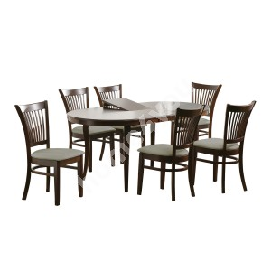 Dining set JOY with 6-chairs (20852) 145+33x90xH74cm, extendable, wood: rubber wood, color: walnut, finish: lacquered