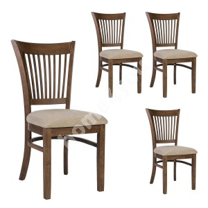 Chair JOY - 4pcs, 44x44xH90cm, seat: fabric, color: beige, wood: rubber wood, color: walnut, finish: lacquered