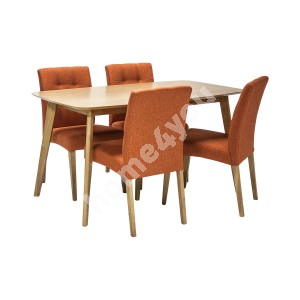 Dining set ENRICH with 4-chairs (20896), 140x80xH75cm, material: MDF with oak veneer / rubber wood, color: oak