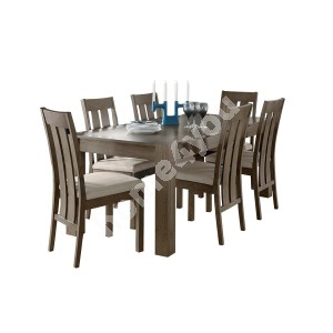 Dining set TURIN with 6-chairts (11305) 90x125/165xH75cm, wood: oak, color: smoky oak, finishing: oiled