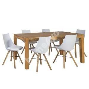 Dining set CHICAGO NEW with 6-chairs (37021) table top: MDF with natural oak veneer, finish: oiled