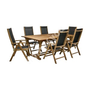 Garden furniture set FUTURE table and 6 chairs (2782), 210/300x110xH73cm, extendable, wood: acacia, finish: oiled