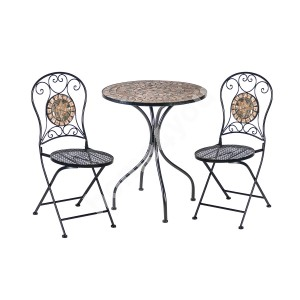 Balcony set MOSAIC table and 2 chairs (38666), D60xH70cm, mosaic top: dark grey/brown stone, metal frame, color: black